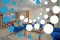 Thumb living room blu velvet sofa side