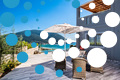 Thumb villa drakatos ostria vasiliki lefkas outdoor dining with pool view